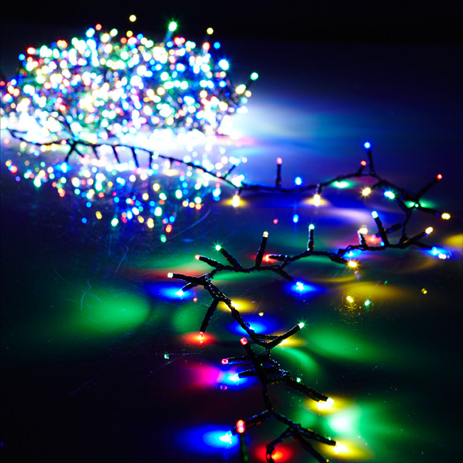 Raz 36.5' Multi Color Compact LED Light  Garland with Green Wire and Remote G3737067