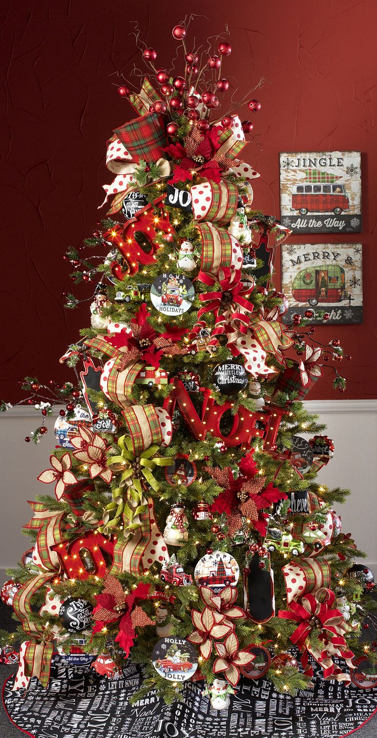 Christmas tree decorations red and green - 2015 Christmas Tree Themes