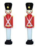 Set of 2 Toy Soldier with Black Hat Plastic Blow Mold Decorations