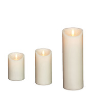 "Liown 3"" x 4"", 6"", or 8"" Moving Flame Ivory-Vanilla Scented Pillar Battery Candle"
