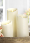 "Liown 3.5"" x 5"", 7"", or 9"" Moving Flame Ivory-Vanilla Scented Pillar Battery Candle"