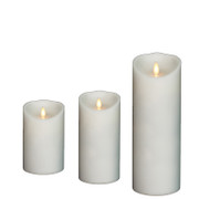 "Liown 3.5"" x 5"", 7"", or 9""  Moving Flame White-Unscented Pillar Battery Candle"
