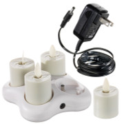 "Liown Rechargeable 1.6"" Moving Flame Tealight System with Charger 36120"
