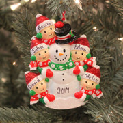 Personalized Christmas Ornament Family of 5 Building a Snowman OR1367-5