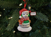 Snowman Standing By A Light Post Personalized Christmas Ornament