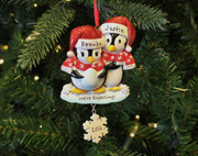 """We're Expecting"" Penguin Couples Personalized Christmas Ornament"