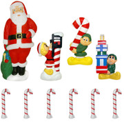 "60"" Santa and Elf 10 Piece Lighted Christmas Blow Mold Set"