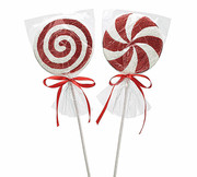 "18"" Red and White Peppermint Christmas Tree Pick 2 Assorted 9728668"