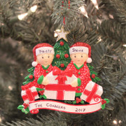 Couple Opening Presents Personalized Christmas Ornament OR1523-2