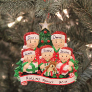 Family of 5 Opening Presents Personalized Christmas Ornament  OR1523-5