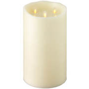 "Liown 10"" Moving Triflame Ivory Unscented Battery Candle 18017"