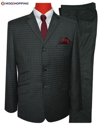 mod suit|charcoal grey gingham check 60s fashion men tailored suits