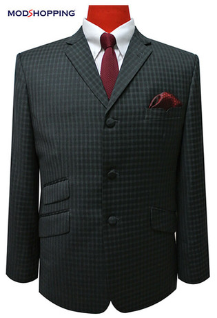 charcoal mod blazer| retro 60s gingham check charcoal mod blazer jacket