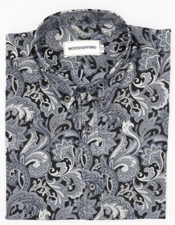 Grey & black Paisley print shirt size medium
