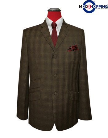 mens  blazer| 60s check mod brown blazer jacket for men