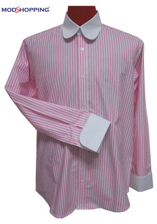 Round collar shirt| pink colour mens long sleeve shirt