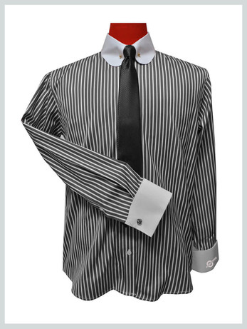 round collar shirt| vintage style mens pin collar grey stripe shirt