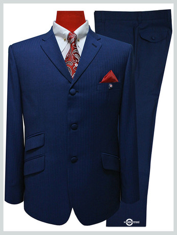 herringbone suit|sapphire blue tailored mod suit for men