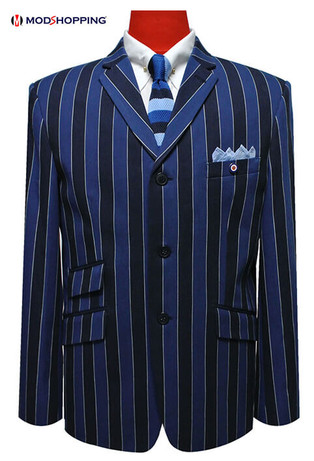 boating blazer|1960s mod vintage style navy blue stripe boating blazer for men