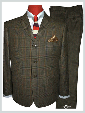 prince of wales check suit|60s mod fashion tailored 3 button brown mod suit