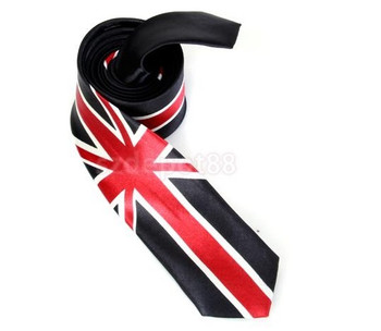 skinny tie| union jack black & red tie 60s mod clothing