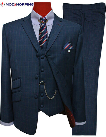 3 piece mod suit|houndstooth navy  tailored 3 button suit for men