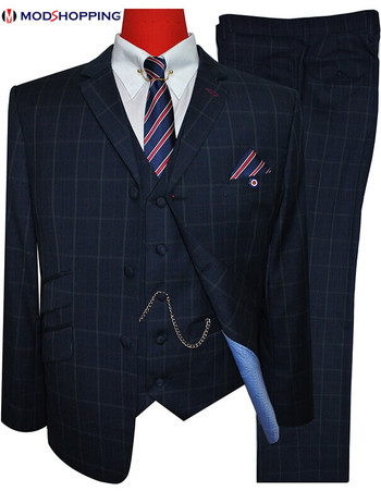 navy blue check houndstooth 3 piece suit for men 60s mod style