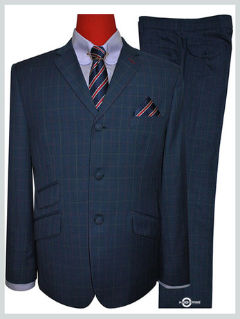 navy blue suit | 60s fashion men tailored pow check navy blue mod suit