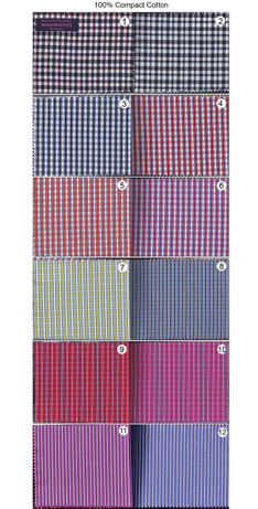 Bespoke Shirts| 100% Compact Cotton Gingham Stripe Shirt