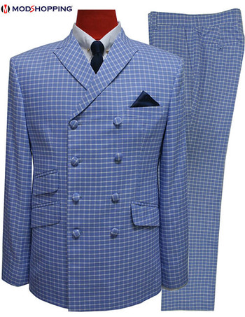 60s mod double breasted suit,vintage style sky colour