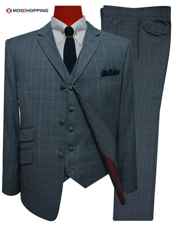 two tone 3 piece suit|blue & grey tailored mod style 3 button suit