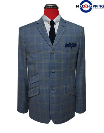 mod blazer jacket|check in sky blue retro blazer for men,3 button jacket