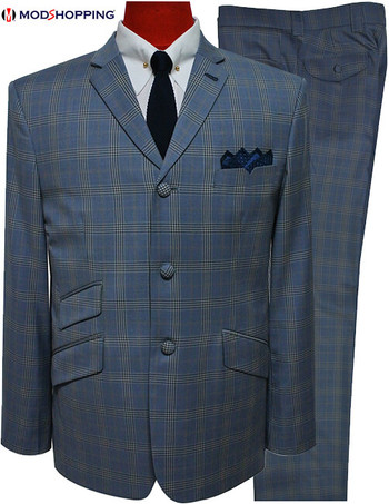 check suit for men|sky blue check 3 button mod suit