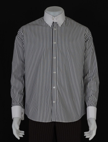 tab collar shirt| grey & white stripe tab collar shirt