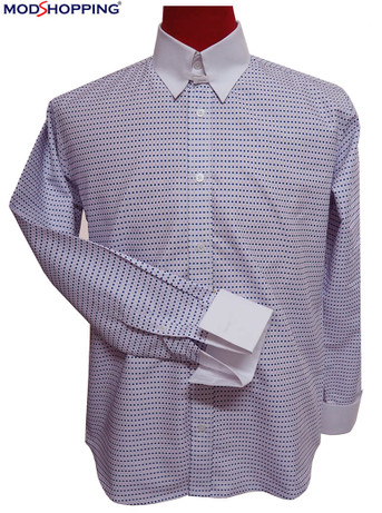 tab collar shirt| navy blue dot lilac tab collar shirt