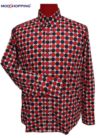 polka dot shirt| mens large red & brown polka dot shirt