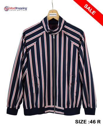 NAVY BLUE STRIPE HARRINGTON JACKET