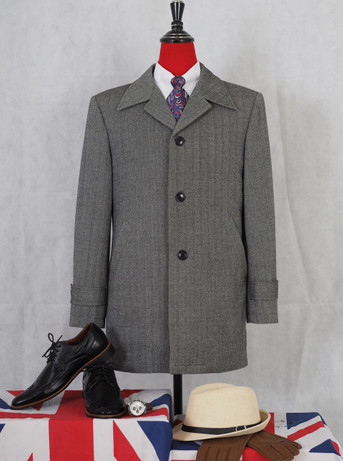 Original vintage 60s retro herringbone grey tweed short overcoat for men