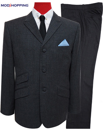 charcoal grey 60s fashion mens tweed suit,peak lapel mod suit
