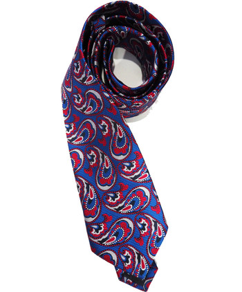 Red Floral Blue Paisley Print Silk Ties and hankie set For Men