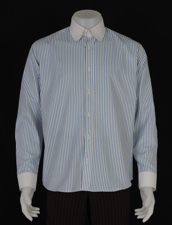 round collar mod style blue stripe shirt for men