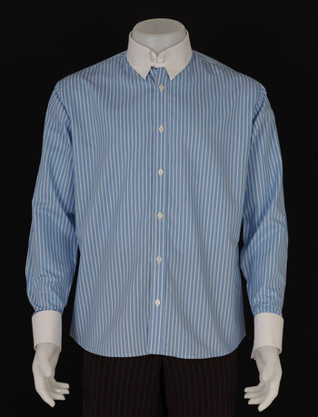 tab collar shirt| white stripe in sky colour tab collar mens shirt