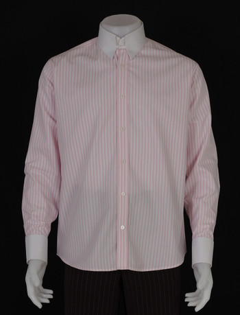 tab collar shirt| retro stripe pink & white shirt