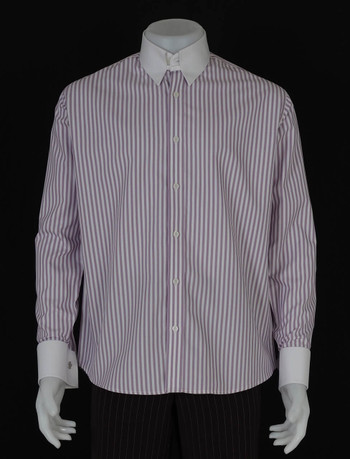 tab collar shirt| slim fit purple white stripe shirt for men