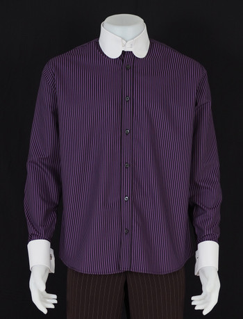 tab collar shirt| purple & black colour tab collar shirt