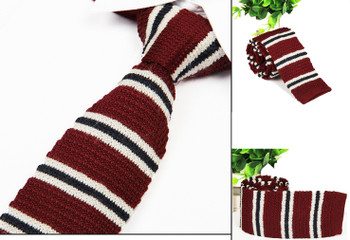 1960s retro white stripe in burgundy knitted tie for men