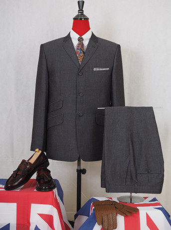 mod suit|charcoal grey tailored 3 button linen men suit