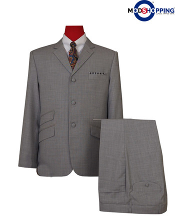 mod suit| light grey tailored 3 button men suit,mod clothing