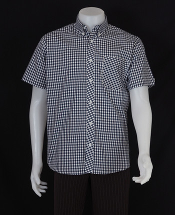gingham shirt| slim fit navy retro gingham check shirt for men