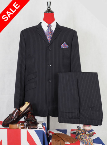 This suit only.black pinstripe suit 48 L jacket / 40-35 trouser